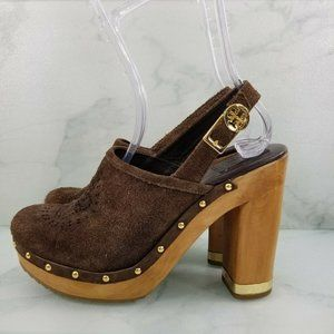 Tory Burch Brayden Laser Cut Suede Clogs
